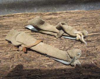 Collection of 2 Vintage Old Antique Farm Corn Husker Shucker Hand Tools Metal Leather Primitive Farm Rustic
