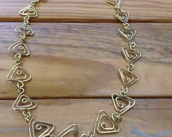 Brass Triangle Pattern Linked Necklace