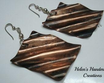 waves of copper  handmade copper earrings