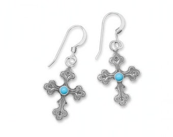 Sterling Silver Oxidized Dangle CROSS EARRINGS with Turquoise Center