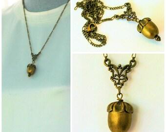 Peter Pan Acorn Kiss for Wendy in Antique Bronze/Brass Peter Pan and Wendy Hidden Kiss