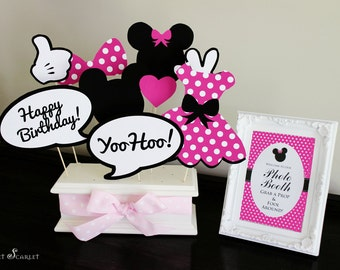 MINNIE Mouse Photo Booth Props in Hot Pink - Print your own - Digital File - Immediate Download