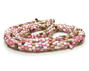 Peyote Stitch Necklace Vintage Beaded Rope Necklace with Pink & Brown Beads