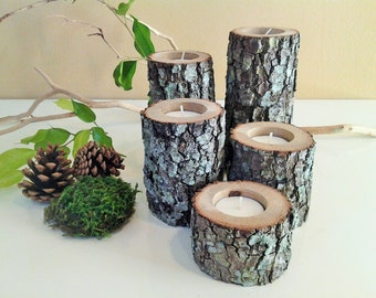 TREASURY ITEM -  5 Wood tree branch candles  - Wood candles - Rustic wedding candles -  Home and living - Cabin decor - Holiday candles