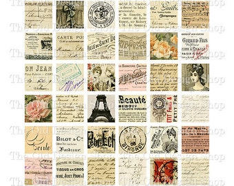 Vintage French 1 Inch Squares Printable Digital Collage Sheet