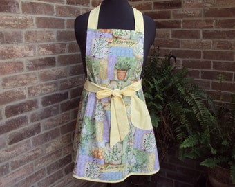Women's full apron, Herbs, rosemary and thyme--chefs style apron--only one