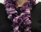 Crochet Ruffle Purple Scarf Multicolored Long Fashion Scarf Free Shipping