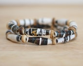 Rustic Black and White Bracelet, Recycled Paper Bead Bracelet Made From Book Pages, Geometric Bracelet, Gothic Bracelet, Classic Bracelet
