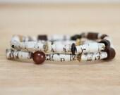 Recycled Brown Paper Bead Bracelet Set Made From Old Childrens Book Pages, Earthy Bracelet Set, Organic Bracelet, Natural Bracelet Set