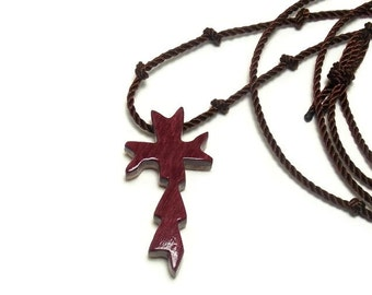 Cross Pendant - Handmade Wooden Cross Necklace - Purpleheart & Eucalyptus