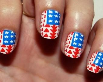 Tribal US Flag Nail Polish Strips | 4th of July | Nail Wraps | Nail Decals