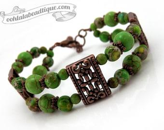 Green jasper bracelet, magnesite bracelet, beaded bracelet, green magnesite, copper bracelet, adjustable bracelet, green bracelet, boho gift