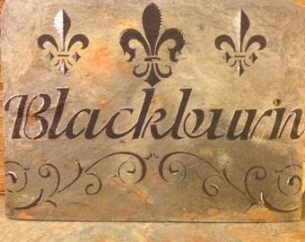 Personalized Custom Slate Sign Recycled New Orleans roofing Slate