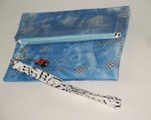 Zippered wristlet pouch - Music Notes fabric -  Blues and Black = Gifts for Her