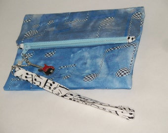 Zippered wristlet pouch - Music Notes fabric -  Blues and Black - Gifts for Her