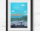 Adventure Awaits - Outdoors - Mountain Hiking  Modern Art Print