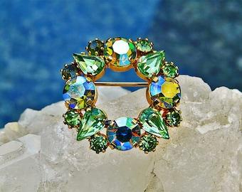 vintage Austrian green AB crystal circle brooch