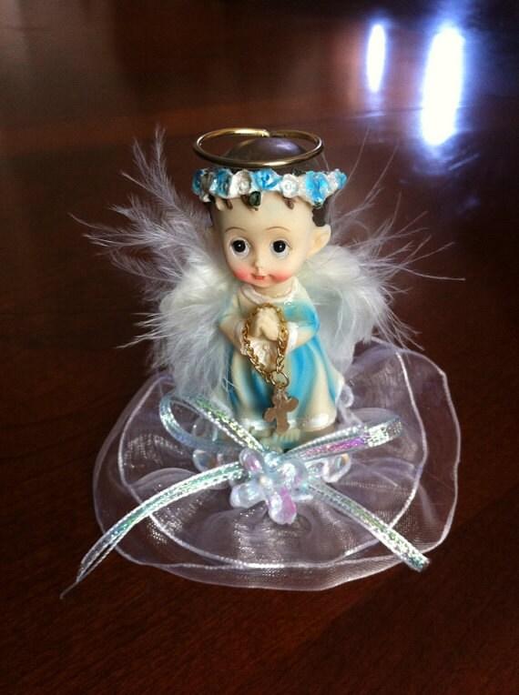 Baptism Favors , baby boy baptism favors, Fisrt Comunion Favors , Angel favors, Blue angels with rosary favors, center pieces favors