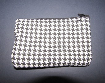 Small Coin Purse, Black, white small Houndstooth print