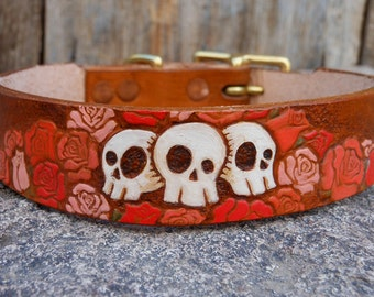 Lucinda Mini- skull and roses leather dog collar