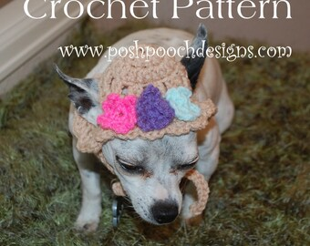Instant Download Crochet Pattern - Spring Flowers Dog Hat