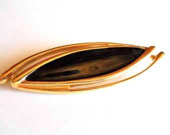 Vintage Brooch Signed Monet, Black Enamel and Gold Tone