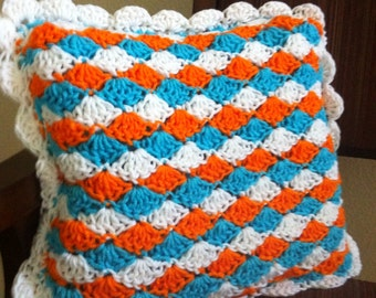 NFL Miami Dolphins colored crochet paintbrush stitch throw accent pillow Ready to Ship