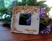 Rustic  Wooden Picture Frame with Tree with Heart and Personalized