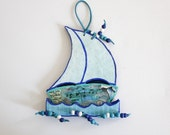 dream singing and travelling boat blue - papier mache - home decor - beach cottage decor - FREE SHIPPING