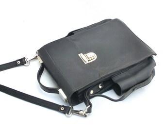 Vintage Leather Bag 70s, Black Bag, Military Bag, Officer Military bag, Messanger bag, Unique bag, Gift for Him