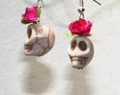 Dia de los muertos stone earrings- handmade mexican catrinas-Frida kahlo