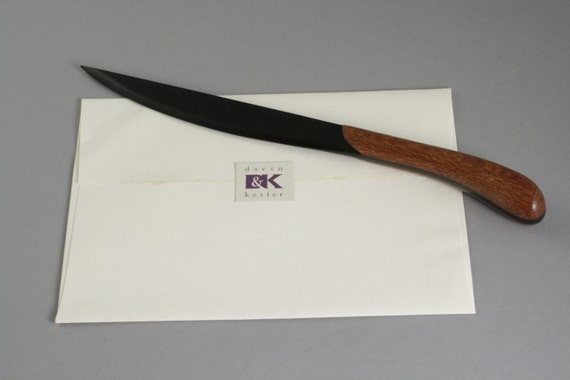 Wooden Letter Opener With Ebony Blade Maplecocobolo Or