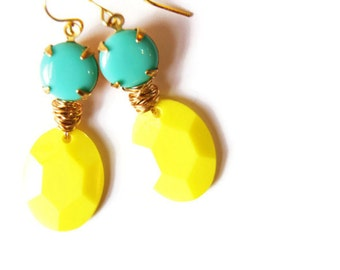 Bright Yellow and Turquoise Earings