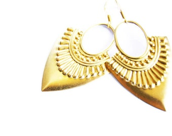 Gold Dangle Earrings Tribal Jewelry