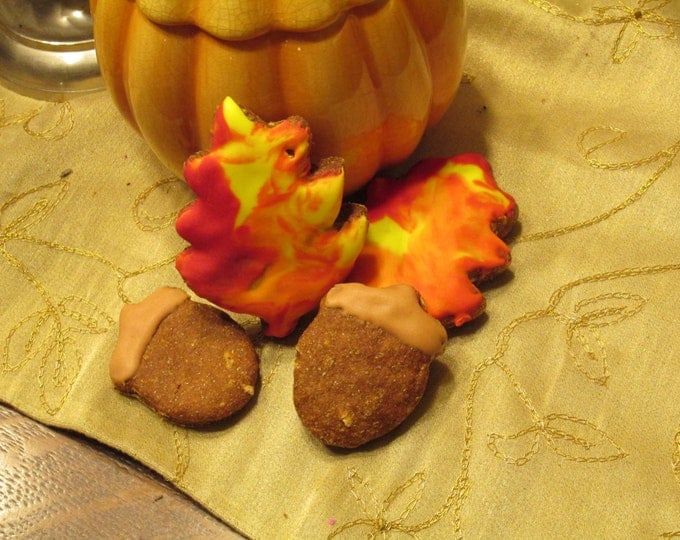 Fall leaves and acorn dog treats Autumn 6 treats