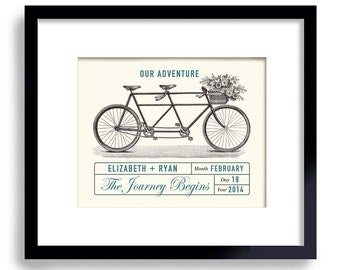 Personalized Bicycle Built for Two - Unique Engagement Gift - Wedding Adventure Decor - Unique Wedding Gift - Gift for Couples