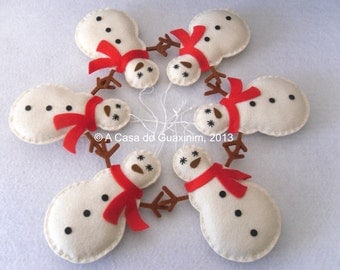 Snowman - Set of 6 Christmas ornaments
