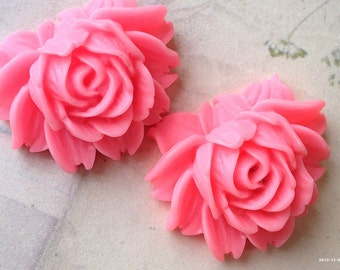 45 x 35 mm Pink Resin Flower Cabochons  (t.t)