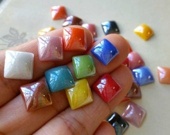 10 mm Electroplated Shiny Porcelain Beads / Square Shape Flat Back / Assorted Colors (.mh)