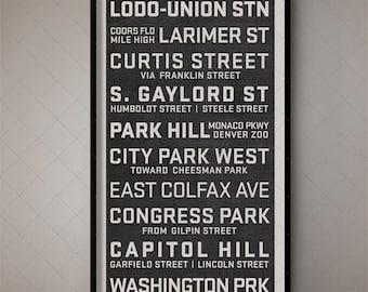 Denver Colorado Typography Poster Subway Scroll, Vintage Subway Sign, Retro Bus Roll, Trolley Banner, Destination Banner, Bus List, Sign Art
