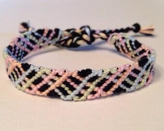 Pastel Blue, Green, Pink, and Orange Zig Zag on Black - Friendship Bracelet
