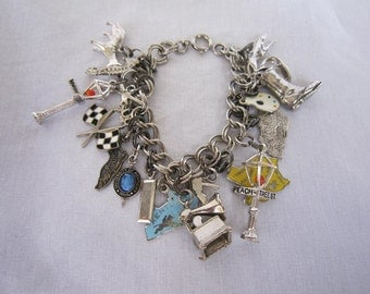 Sterling Silver Charm Bracelet, Travel Charms