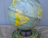 J. Chein & Co. 9 inch Tin Globe on Stand, Aqua, Turquoise