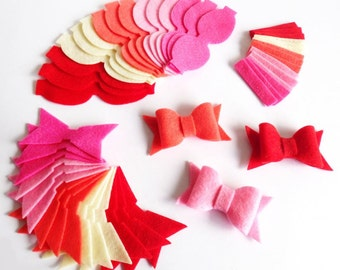 Felt Bows Unassembled Melocotón. Set of 15 bows, DIY supplies
