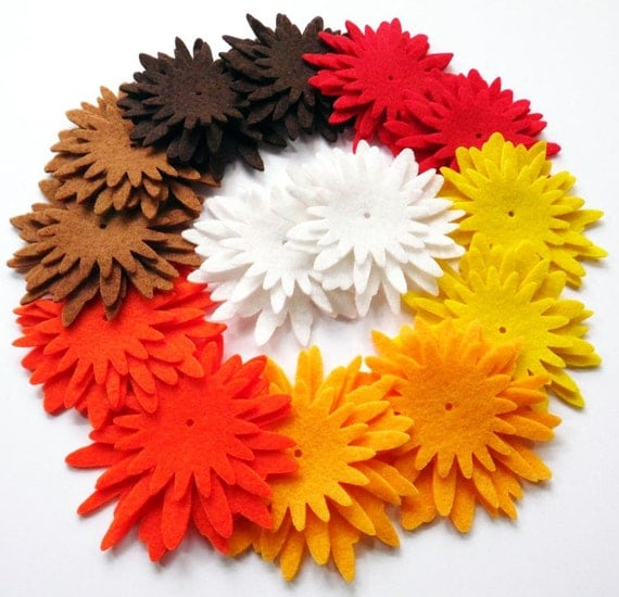 Felt Flower Shapes ATARDECER, set of 42 pieces