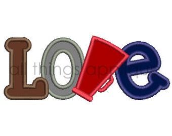 LOVE Megaphone Applique Design - Satin & Bean Stitch - INSTANT DOWNLOAD