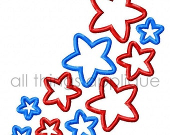 Floating Stars Applique Design - Satin Stitch AND Bean Stitch - 4th July Applique - INSTANT DOWNLOAD