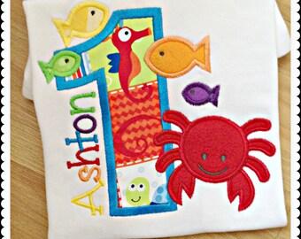 Beach theme birthday shirt - crab birthday shirt - fish birthday shirt - crab and fish - custom embroidered birthday shirt - personalized
