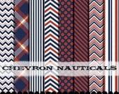 Digital paper clip art frame Red white and blue , navy clipart digital paper chevron, Polka dot USA patriotic : p0218 3s0326 IP