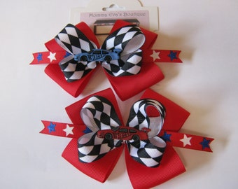 Momma Eva's --Sale //   I Love My RACING Bows // 2 Bow Set / Red And Blue Race Cars // Pigtail Hair Bows // FREE NO Slip Grip Avail